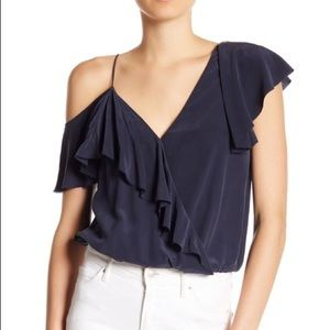Joie Silk Off Shoulder Ruffle Top